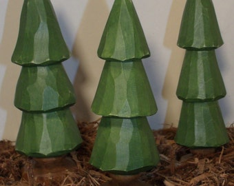 3 Hand Carved Trees....6 inches tall...2 inches wide. Carved from basswood......