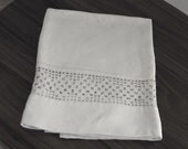 White Linen Towel with large hand crocheted border. Vintage from the 1930's.