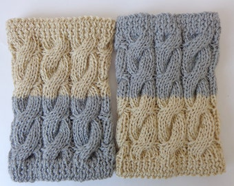 Knitted Boot Cuffs Reversible 2 in 1 Light Grey And Ecru Cabels - Boot Socks Boot Topper Leg Warmer Or Choose Your Color