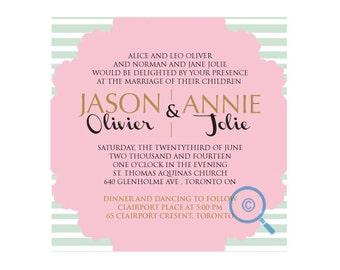 Rose Lines Wedding Invitation