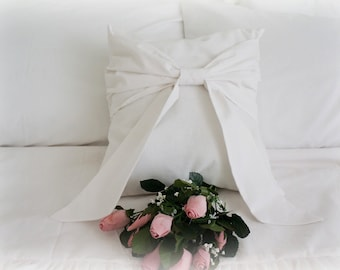 Beautiful Shabby Chic Cottage French White Big Bow Pillow Cover
