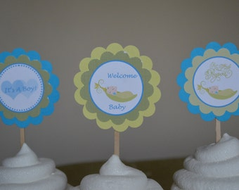 Pea In A Pod Boy Baby Shower Theme Cupcake Toppers - Welcome Baby - It's A Boy - Congratulations - Sweet Pea - Set of 12