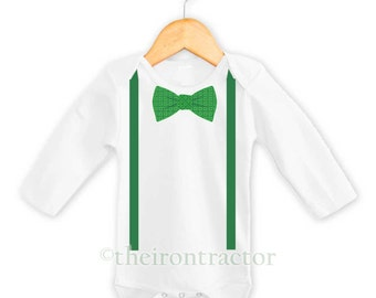 FREE SHIPPING: Bow tie and Suspenders St Patrick's Day Onesie
