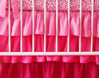 Dark Pink Gradient Ombre Ruffle Crib Skirt