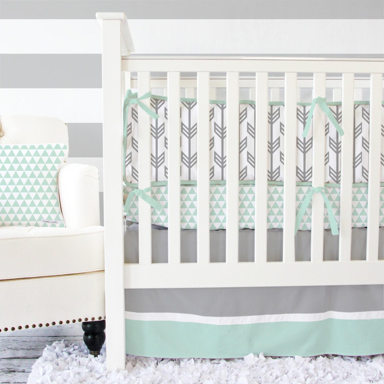 Crib bumper for sale philippines - Gray Mint Arrow Baby Bedding Gender Neutral Crib Set Arrow Gray And Mint Crib Bedding Mint Triangle Crib Sheet Arrow Baby Bumper