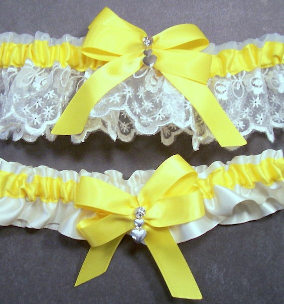 Wedding Garter Set Bright Yellow On Ivory Bridal By