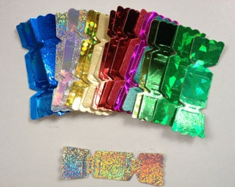 25 Holographic Christmas Cracker die cuts for cards/toppers cardmaking/scrapbooking craft projects