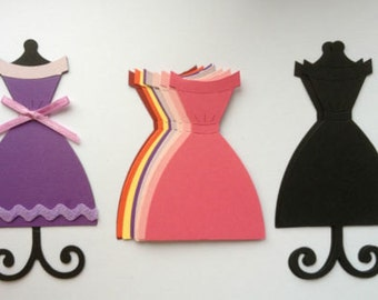 Stunning Ladies Dress stands + dress die cuts for cards/toppers cardmaking scrapbooking craft project