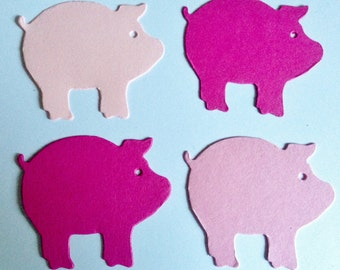 30 pink Pig Die cuts for Children's cardmaking toppers craft project paper craft