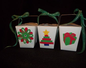 10 - Christmas Themed Chinese Take-Out Favor Boxes - Christmas Holiday Party Favor