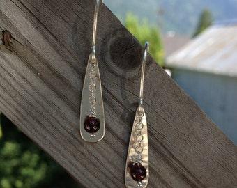 dangle earrings with garnet