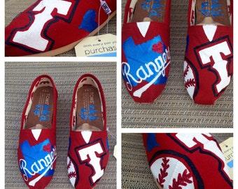 Texas Rangers Custom TOMS || Texas Rangers || Texas Rangers Shoes || Custom Shoes ||  Womens Shoes || Texas Rangers TOMS