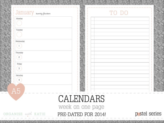 A5 Week on 1 Page 2014 Calendar Printable Planner - Pastel - INSTANT ...