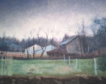 Barns at Dusk, Print of Oil Painting