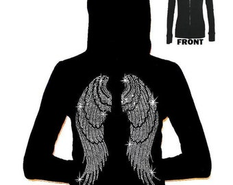 Junior Rhinestone Angel wing Zipper Hoodie All Size S-3XL BLing Bling