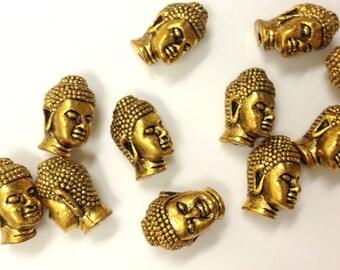 JF-006G 10Pcs/Lot TierraCast Buddha Beads Pewter Antique Gold Tierra Cast 2.5mm Hole