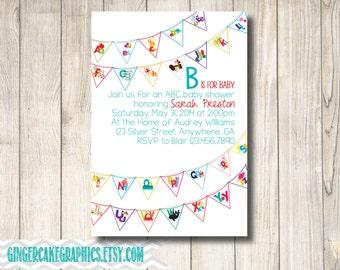 Baby Shower Invitation - Alphabet Invitation - ABC Invitation - Gender Neutral Baby Shower Invitation