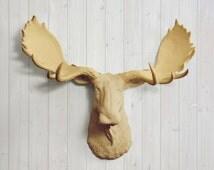 The Alberta in Khaki - Faux Moose Head Fake Taxidermy Resin Fauxidermy Ceramic Plastic Wall Replica Animal Decorative Mount Mounted Decor