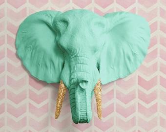 The Savannah in Mint + Gold Glitter- Faux Elephant Head - Green Fauxidermy Ceramic Fake Taxidermy Resin Animal Decor Plastic Turquoise Art