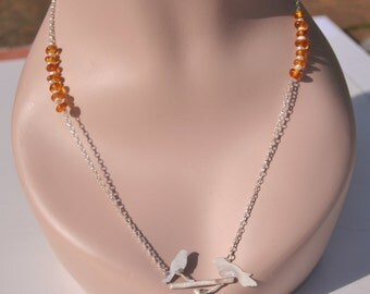 sterling silver neckalce, hand cut birds, with amber and cultured pearls