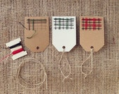 Plaid gift tag DIY embroidery craft kit