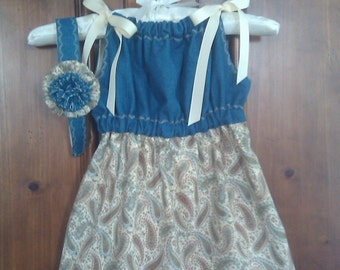 Adorable Jean and Paisley Pillow Case Dress