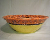 Yellow Navy Orange LARGE BOWL HANDMADE Southwestern Serving or catch-all multi functional  very pretty Southwest theme Western Hieroglyphs