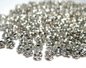 100pcs Antique Silver Metal Spacer Beads 3.5mmx2mm