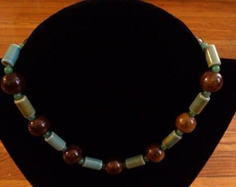 Elegant Brown and Green Necklace