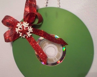 GEEK Christmas Ornament - Computer CD - Snowflake & Star