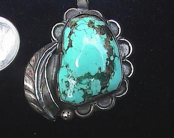 Large, vintage turquoise necklace pendant