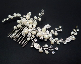 Bridal hair comb, Bridal hair vine, Wedding headpiece, Freshwater pearl hair comb, Pearl hair vine, Rhinestone hair comb, Vintage wedding