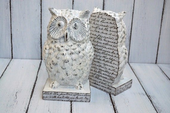 Owl Bookends Shabby White Owl Home Decor White By Rinaartdecor