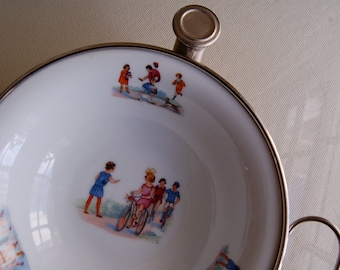ON HOLD for BARBARA Porcelain and Silver-plate Child's Warming Dish / Made in Germany