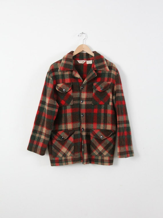 Vintage Plaid Shirt Jacket 70s Men 39 S Wool Button Down