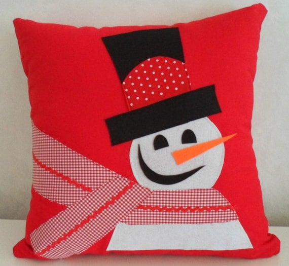 Snowman Pillow, Christmas Pillow, Decorative Pillow, Throw Pillow