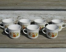 Vintage Coffee Cups Corelle Indian Summer Corning Ware Set of Seven