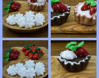 Felt Cake Sewing Pattern Tutorial Strawberries and Cream