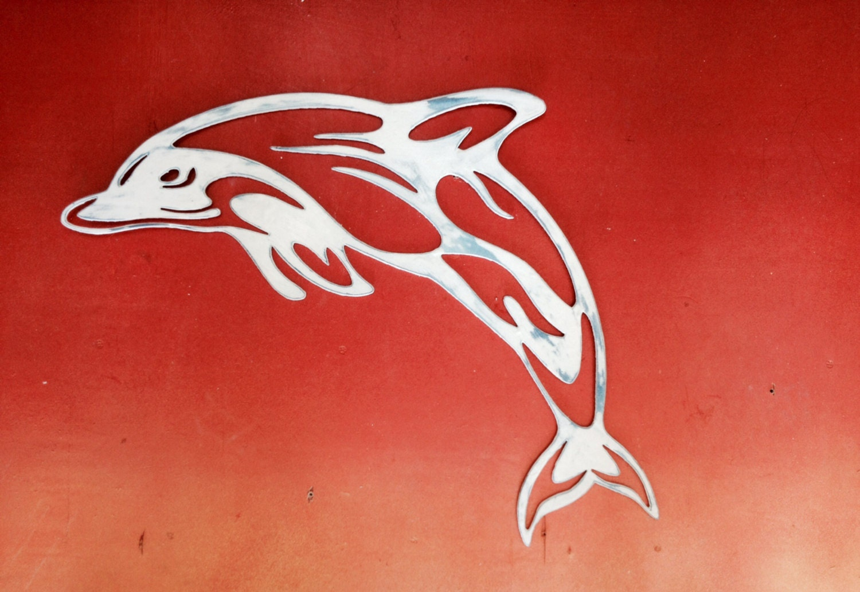 Dolphin Outdoor Wall Decor : Steel dolphin wall art beach house decor by