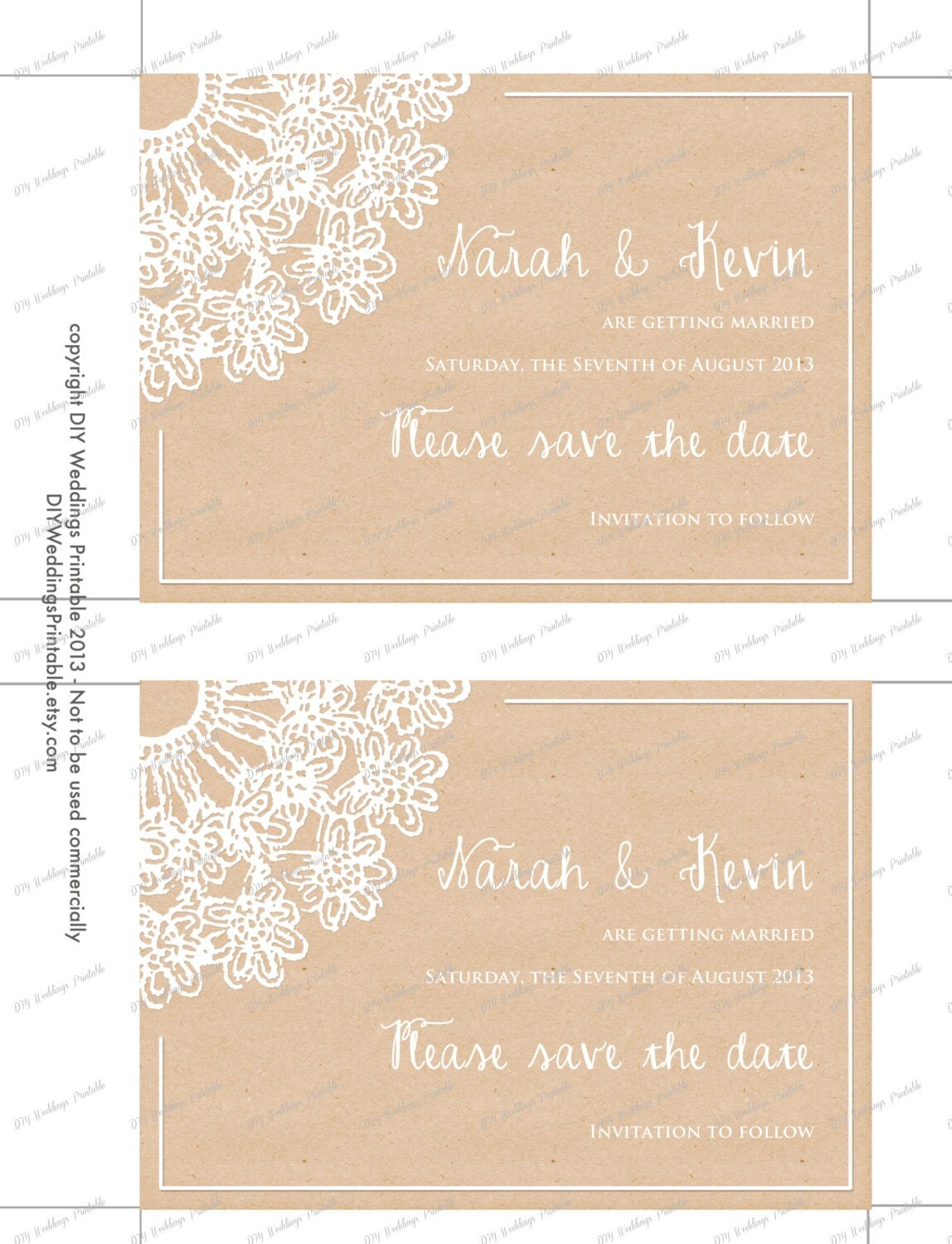 rustic save the date templates lace doily kraft save the date cards