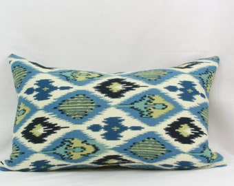 blue and green ikat pillow cover. 20 x 13 pillow cover.