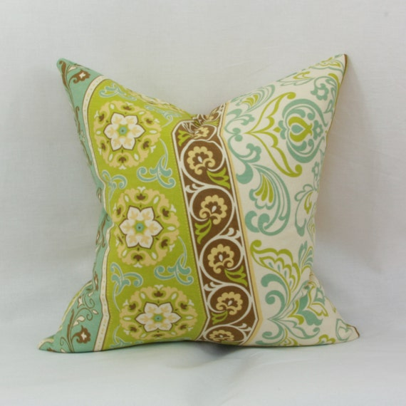 Items similar to Green & blue decorative throw pillow cover. 18