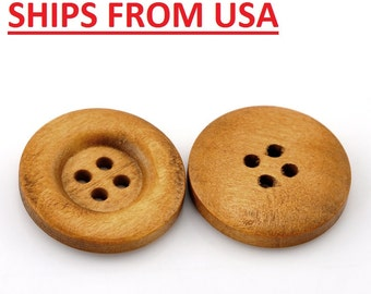 """50 7/8"""" Medium Brown Wooden Buttons, 7/8 inch Wood Buttons 23mm Wood Wooden Buttons Bulk Wood Button Wholesale Wood Buttons Wholesale"""