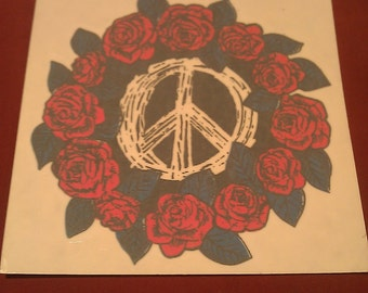"""Peace Sign with Roses 5""""x5"""" Window Decal STICKER new old stock"""