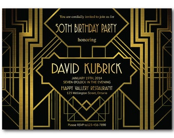 Great Gatsby Birthday Invitation. 30th 40th 50th 60th 70th 80th surprise party invites. Art Deco. Any age. Printable Digital DIY.
