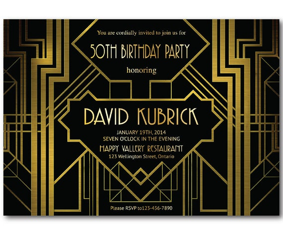 Great Gatsby Birthday Invitation 30th 40th 50th 60th 70th