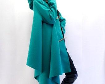 Plus Size Coat / Wool Spring Coat / Asymmetrical Coat / Loose Coat TC02