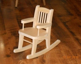 Handcrafted Wood Doll Rocking Chair