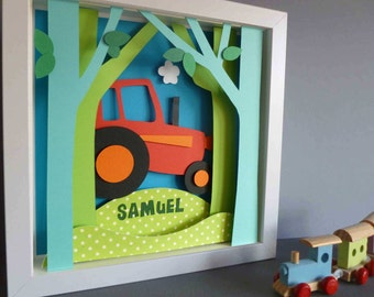 Personalised Baby Kids Children's picture - Tractor 3D Framed Handmade Paper Artwork