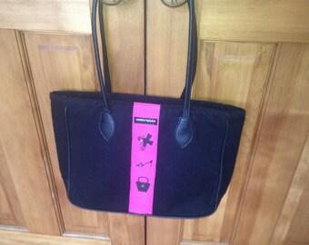 Karen Wilson Toronto black wool tote with pink ribbon accent
